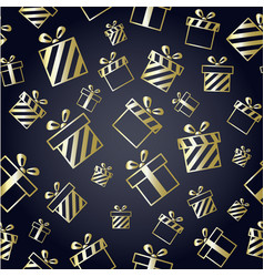 christmas pattern with gold gift boxes vector image