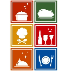 colorful icons with kitchen objects vector image vector image