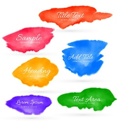 colorful set of watercolor stain collection vector image