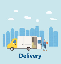 concept delivery service landing delivery truck vector image