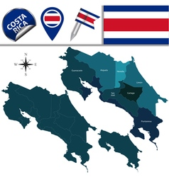 Costa Rica map with named divisions vector image