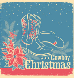 cowboy christmas retro card with american western vector image