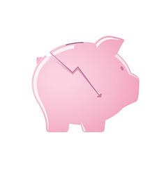 Cracked pink piggy bank vector