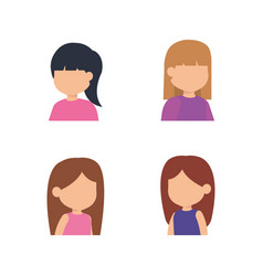cute little girls group vector image
