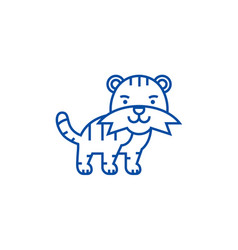 cute tiger line icon concept cute tiger flat vector image