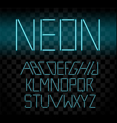 Cyan glowing neon bar alphabet on transparent vector
