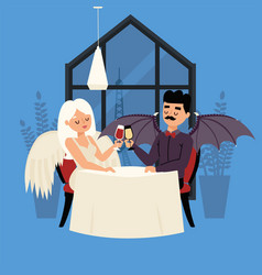 Date angel and demon with wings glass drink vector