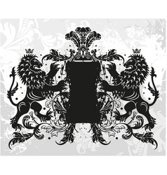 decorative frame with crown and lions vector image