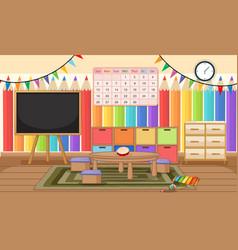 Empty kindergarten room with classroom objects vector