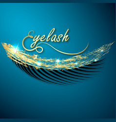eyelashes with gold stars design vector image