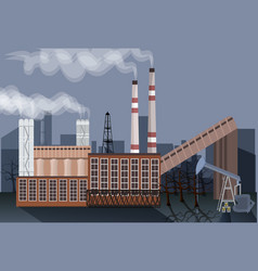 factory building nature pollution plant pipe waste vector image