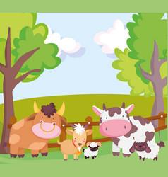 farm animals bull cow goat sheep fence trees vector image