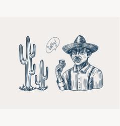 Farmer holding a shot tequila mexican man vector