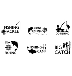 fishing symbols set vector image