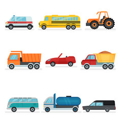 flat set of different urban transport vector image