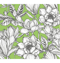 floral seamless pattern magnolia flowers vector image