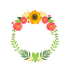 floral wreath with bright flowers circle frame vector image