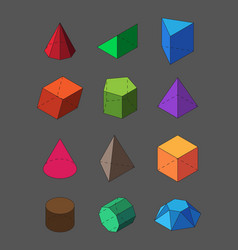 geometric shapes isometric set pyramidal red vector image