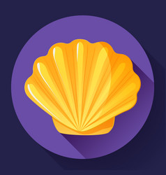 gold sea shell flat logo seafood flat icon vector image