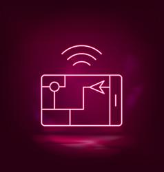 gps smart location neon icon - artificial vector image