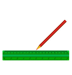 green ruler of red pencil isolated vector image