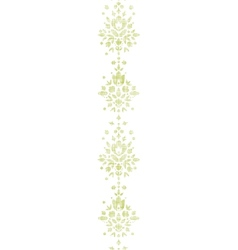 Green textile damask flower vertical border vector