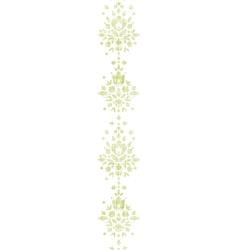 Green textile damask flower vertical border vector image