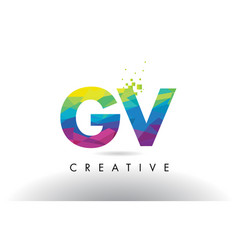 Gv g v colorful letter origami triangles design vector