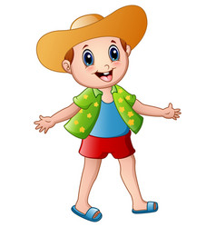 happy boy cartoon with summer clothes and a hat vector image