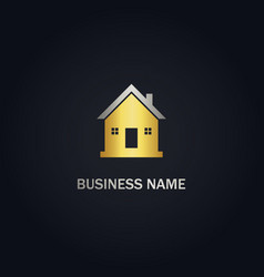 Home realty agent gold logo vector