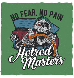 hotrod masters t-shirt label design vector image