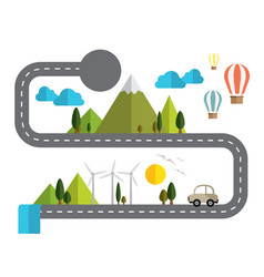 Info graphic road and paper nature concept about vector