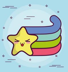 Kawaii star with a rainbow icon vector