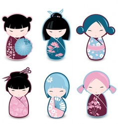 Kokeshi dolls vector