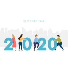man and woman hold numbers 2020 against the vector image