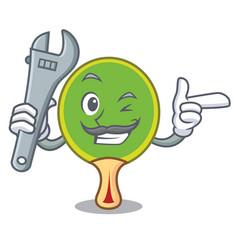 Mechanic ping pong racket mascot cartoon vector