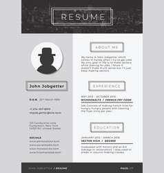 modern resume template vector image
