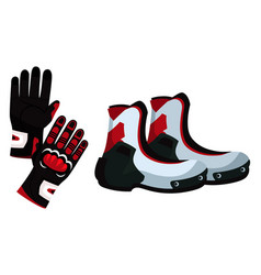 Motorcyclist glove and boot pair on white backdrop vector