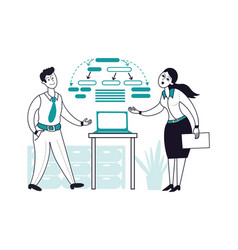 multitasking work businessman and woman working vector image