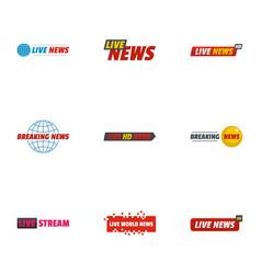 News bulletin icons set flat style vector