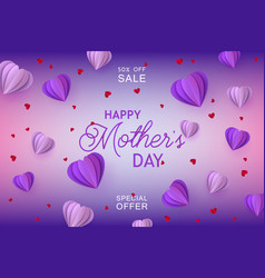 origami paper violet hearts on gradient background vector image