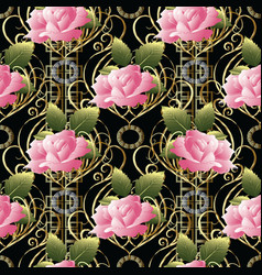 Pink roses seamless pattern abstract vector