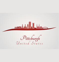 Pittsburgh v2 skyline in red vector