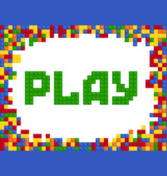 play word plastic color constructor block vector image