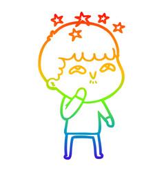 Rainbow gradient line drawing cartoon amazed boy vector