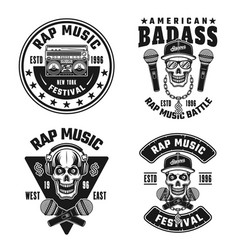 Rap and hip-hop set four black emblems vector