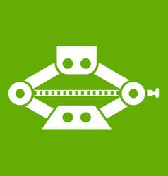 Red scissor car jack icon green vector