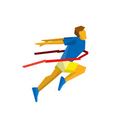 Running athlete crosses a finish line red ribbon vector
