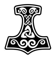 Scandinavian viking design thors hammer vector