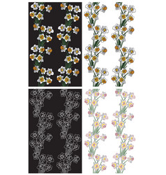 seamless pattern flowers narcissus vector image